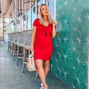Red tie front dress